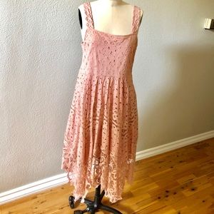 Anthropology pink embroidery dress